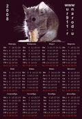 календарь на 2008 год с мышью (крысой)